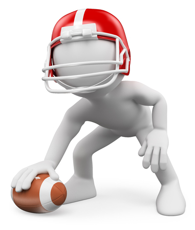 player: 3d white people. American Football Player with ball. Rugby. Isolated white background.