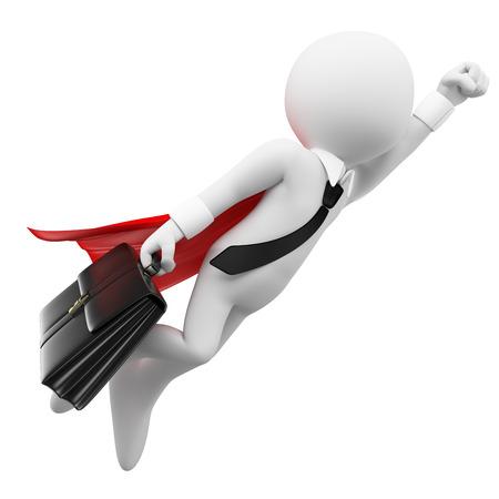 3D-weiße Menschen. Super-Bussinesman fliegen mit einem Koffer. Isolierte weißem Hintergrund. Lizenzfreie Bilder