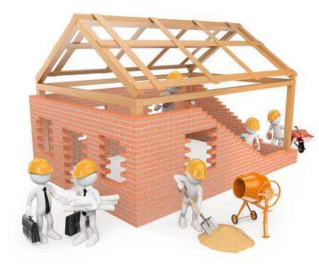 3d white people.  Construction workers building a house. Architects. Isolated white background.
