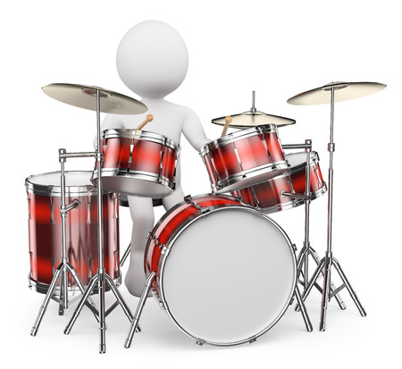 bass drum: 3d white people.  Musician playing drums. Isolated white background.