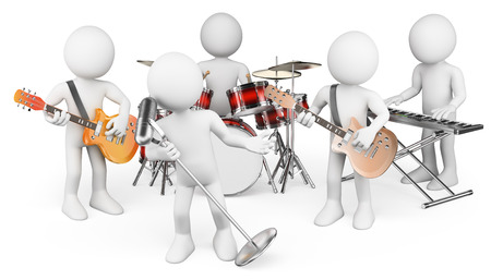 3d white people. Music group playing live. Isolated white background. photo