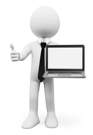 3D-weiße Menschen. Geschäftsmann mit einem Laptop mit leeren Bildschirm. Isolierte weißem Hintergrund.