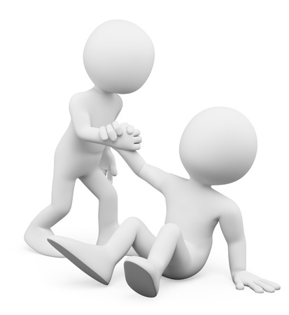 fellow: 3d white people. Man helping a fellow up. Concept of fellowship. Isolated white background.