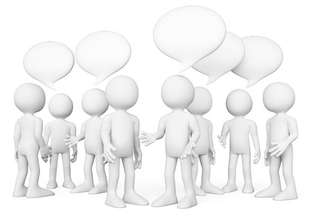 persona: 3d gente blanca. Grupo de gente hablando. Concepto de Chat. Fondo blanco aislado. Foto de archivo