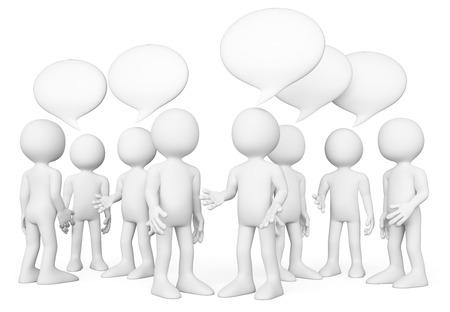 Pessoas brancas 3d. Grupo de pessoas falando. Conceito de bate-papo. Fundo branco isolado. Banco de Imagens