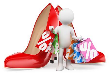 tacones rojos: 3d gente blanca. Mujer de compras con bolsas. Tacones rojos. Moda. Fondo blanco aislado.