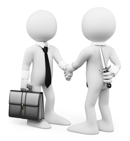 3d white people. Men closing a deal. Betray in business. Isolated white background.