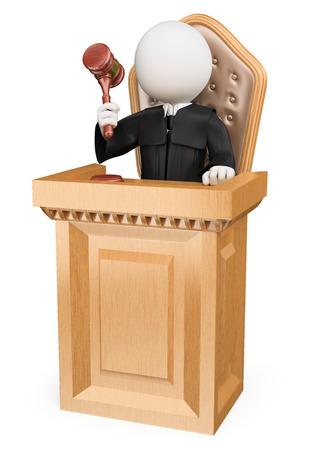 martillo juez: 3d gente blanca. Sentencia el juez en la corte. Fondo blanco aislado.