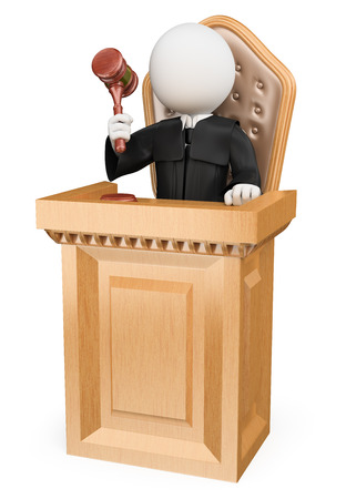 3d white people. Judge sentencing in court. Isolated white background. Stock Photo