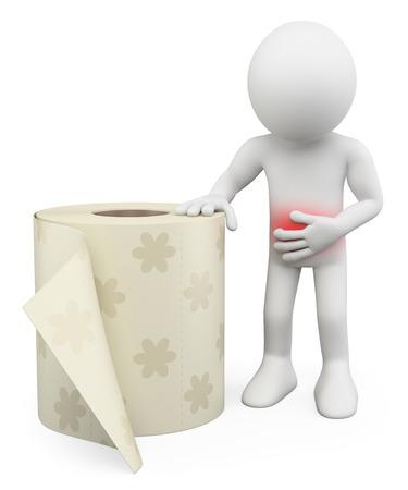 3d witte mensen. Man met maagpijn. Diarree. Toiletpapier. Geïsoleerde witte achtergrond. Stockfoto