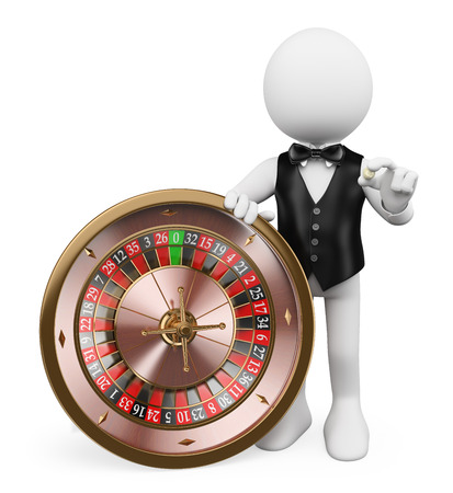 games of chance: 3d white people. Croupier with roulette in a casino. Isolated white background. Stock Photo