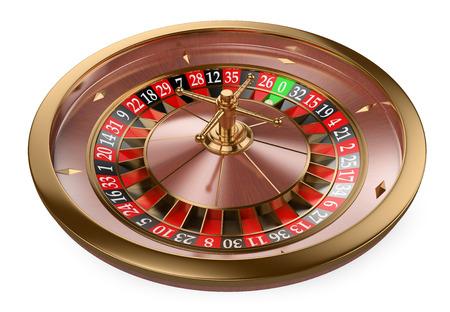 3d white people. 3D Casino roulette. Isolated white background. Archivio Fotografico