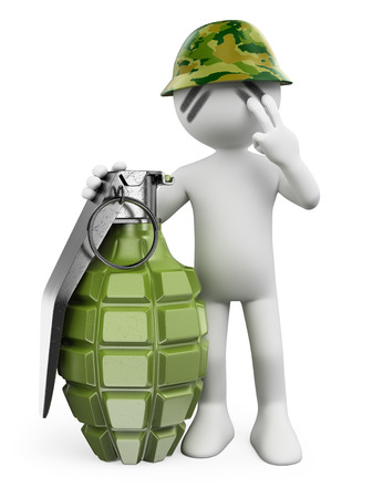 3d white people. Soldier with a hand grenade. Guerrilla. Isolated white background. Stock Photo