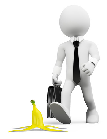 traps: 3d white people. Occupational risks prevention concept. Man about to step on a banana peel. Isolated white background. Stock Photo