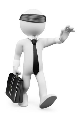 ojos vendados: 3d gente blanca. Empresario caminando a ciegas. Metáfora del asunto. Fondo blanco aislado. Foto de archivo