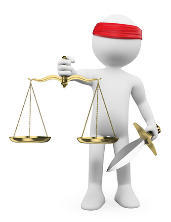3d white people. Scales of justice. Isolated white background.