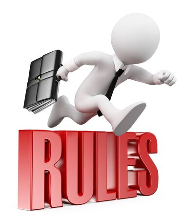 breaking the rules: 3d white people. Businessman breaking the rules. Business metaphor. Isolated white background. Stock Photo