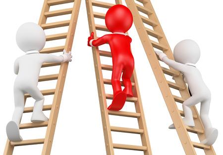 3D-weiße Menschen. Geschäftsleute Klettern ein Holzleiter. Führung. Isolierte weißem Hintergrund.