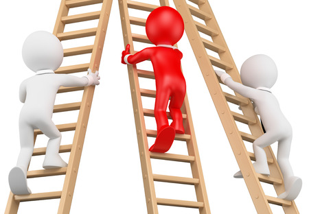 ladder: 3d white people. Businessmen climbing a wooden ladder. Leadership. Isolated white background.