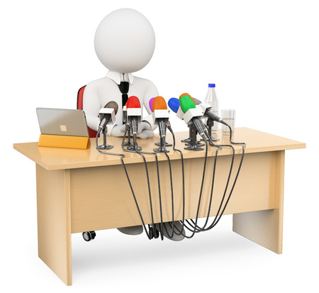 3d white people. Man in a press conference. Isolated white background.