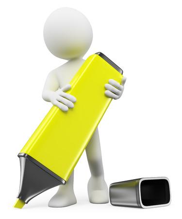 people: Povos 3d brancos. Homem que escreve com um marcador amarelo. Fundo branco isolado. Imagens
