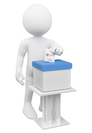 3D-weiße Menschen. Man legte seinen Stimmzettel in eine Wahlurne. Isolierte weißem Hintergrund.