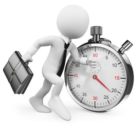 gestion del tiempo: 3d gente blanca. De negocios que trabaja contra el tiempo. Metáfora del asunto. Fondo blanco aislado.