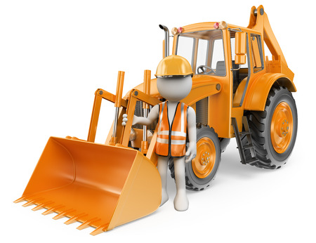 3d white people. Worker with a backhoe loader. Digger. Isolated white background. Imagens