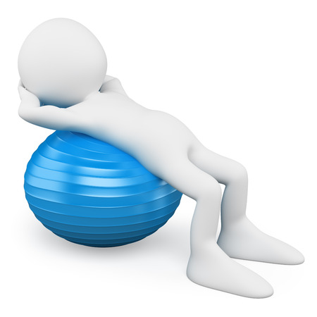 3d white people. Man exercising with a blue aerobics ball. Isolated white background.