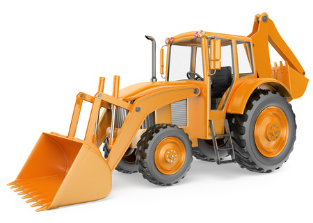 3D Backhoe loader. Digger. Isolated white background. 스톡 콘텐츠