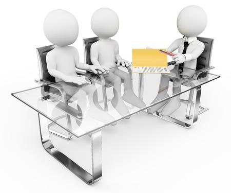 zakelijk: 3d witte mensen. Echtpaar in de bank ondertekening van een contract. Hypotheek. Geïsoleerde witte achtergrond. Stockfoto