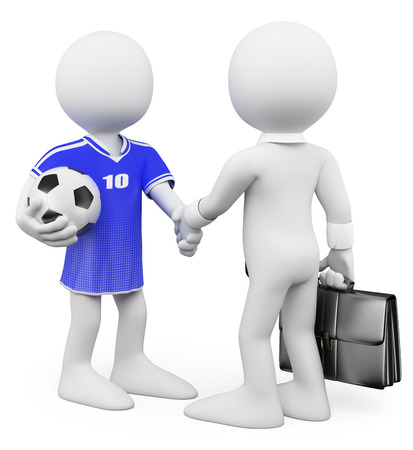 3d white people. Football player manager closing a deal. Isolated white background. photo