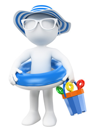 3D-weiße Menschen. Kleines Mädchen mit float und Hut am Strand. Isolierte weißem Hintergrund.