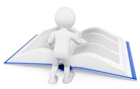 3d personnes de race blanche. Homme lisant un livre énorme. Apprentissage. Fond blanc isolé.
