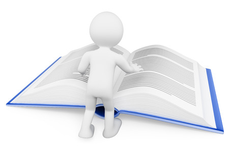 abstract academic: 3d white people. Man reading a huge book. Learning concept. Isolated white background. Stock Photo