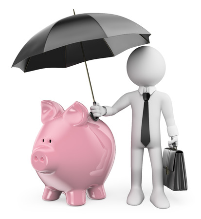 3d white people Man protect his savings with a umbrella. Archivio Fotografico