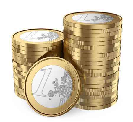 pile of coins: 3d white people. Pile of euro coins. Isolated white background. Stock Photo