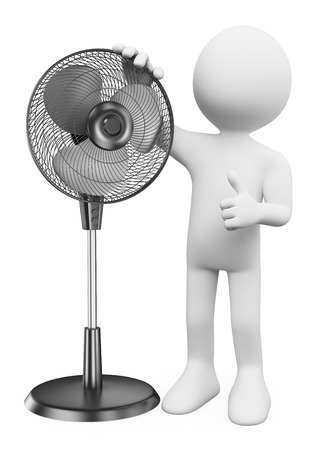 3d white people. Man with a standing fan. Isolated white background. photo