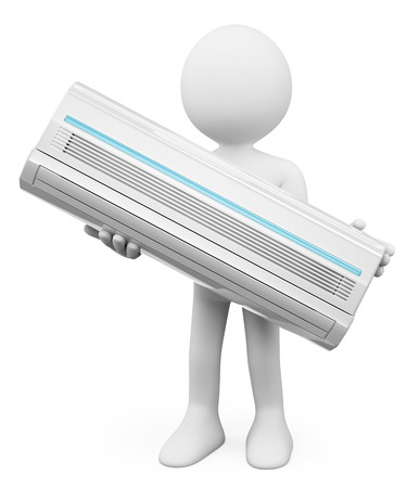 3d white people. Air Conditioner. Isolated white background.