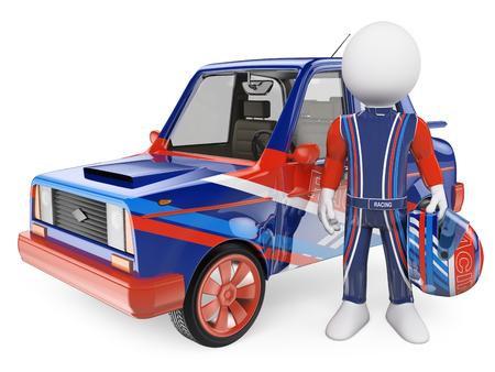 3D-weiße Menschen. Rennfahrer mit seinem Auto. Isolierte weißem Hintergrund.