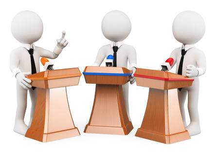 election debate: 3d white people. Political debate. Political campaign. Isolated white background.