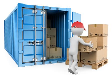 3d witte mensen. Arbeider lossen van een container. Geïsoleerde witte achtergrond.