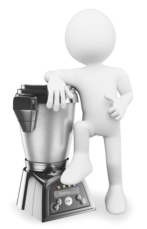 3d white people. Man with a modern food processor. Cooking robot. Isolated white background. photo