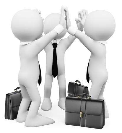 3d white people. Success business teamwork. Isolated white background.