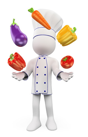 3d white people. Chef juggling with vegetables. Pepper, eggplant, carrots and tomatoes. Isolated white background. Banque d'images
