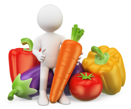 osoba: 3d bílí lidé. Zdravé jídlo koncepce. Zelenina. Pepř, lilek, mrkev a rajčata. Izolované bílém pozadí.