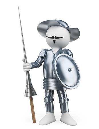 don quijote: 3d gente blanca. Don Quixote De la Mancha. Fondo blanco aislado. Foto de archivo