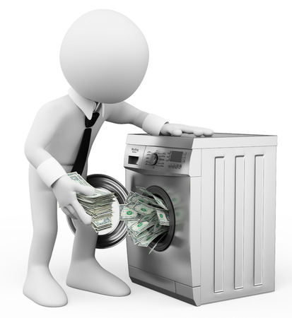 3d white people. Money laundering concept. Business metaphor. Isolated white background. Archivio Fotografico