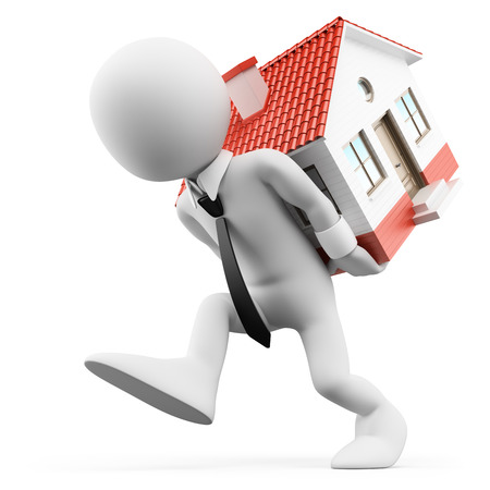 housing problems: 3d white people. Businessman carrying a house. Mortgage. Isolated white background.