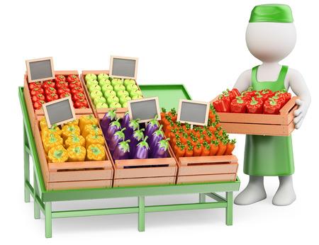 greengrocer: 3d gente blanca. Vendedor en su verdulero. Fondo blanco aislado. Foto de archivo